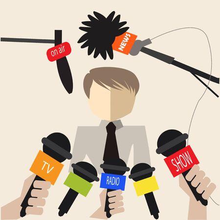 rueda de prensa: Hombre en una conferencia de prensa sobre el fondo de color beirge
