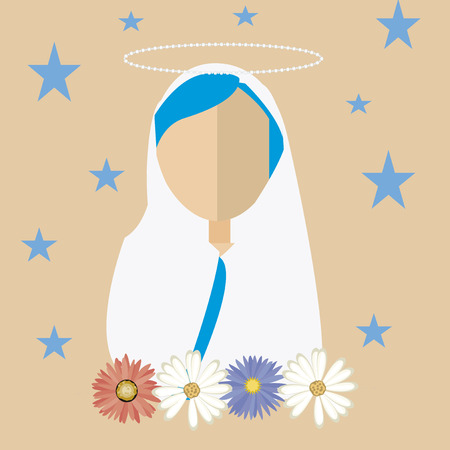 madonna: holy mary, faceless, white mantle surrounded by stars and flowers