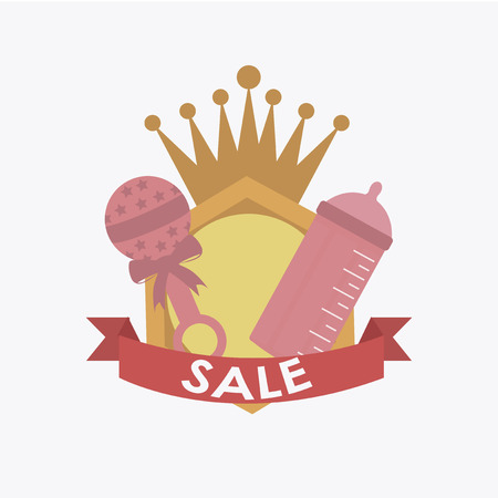 rattles: sale or discount of  rattles and baby bottles for girls over white color background