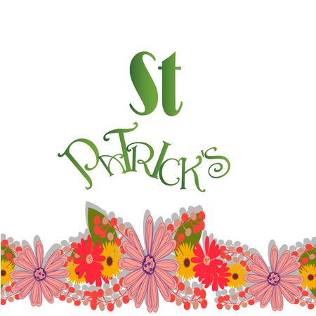 sain: flowers in sain patricks day over white color background Illustration