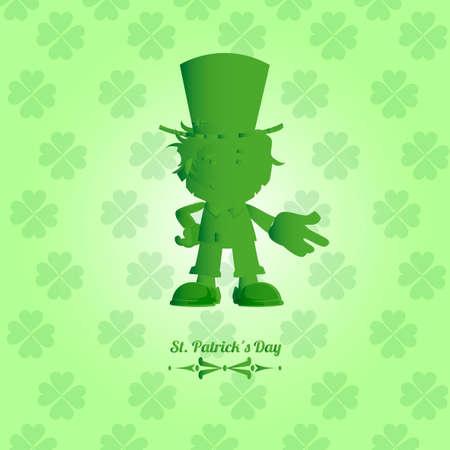green elf: green elf in saint patrick?s day over clover pattern