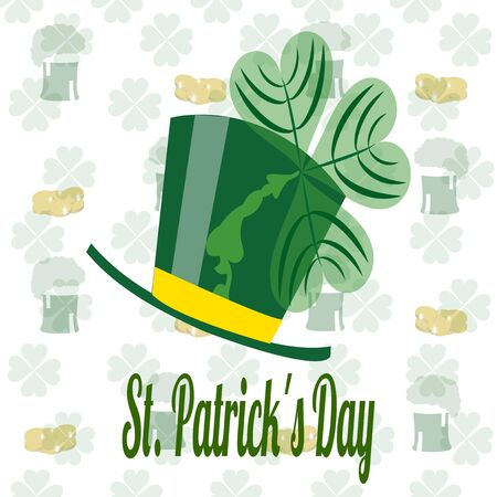 whit: saint patrick hat whit clover and pattern beers and coins Illustration