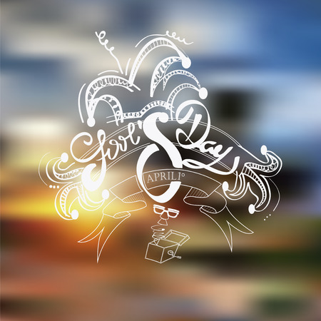 Fools day text over blur background Illustration