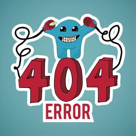 disconnect: Error 404, evil monster disconnect cables over blue color background