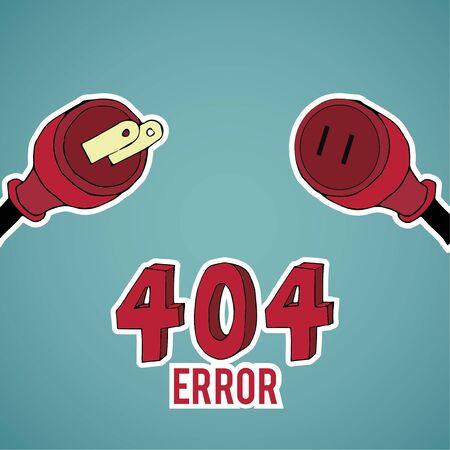 no mistake: Error 404, red pin, over blue color background Illustration