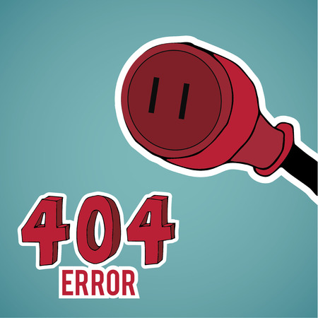 no mistake: Error 404, red plug,  over blue color background