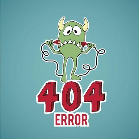 disconnect: Error 404, sad monster disconnect cables over blue color background