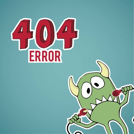 disconnected: Error 404, sad monster offset with disconnected cables on blue color background