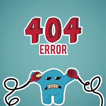 disconnected: Error 404, monster angry with disconnected cables on blue color background Illustration
