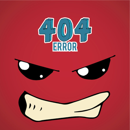disgusted: Error 404,disgusted face over  red color background Illustration