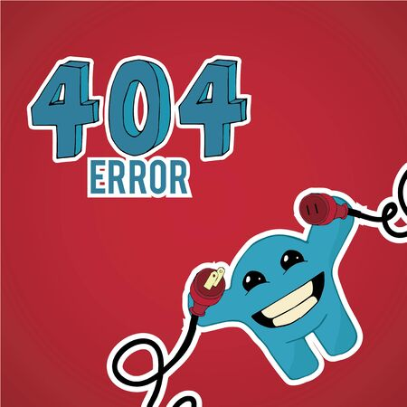 no mistake: Error 404, smiling monster disconnect cables over blue color background