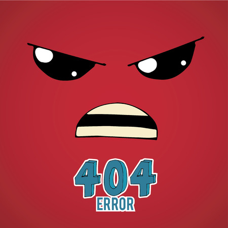 no mistake: Error 404,angry face over  red color background Illustration