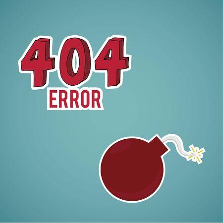 explosive: Error 404, red  explosive  on blue color background Illustration