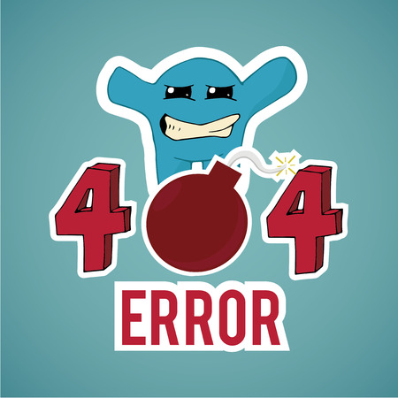 no mistake: Error 404,frusted  monster and explosive text  on blue color background Illustration
