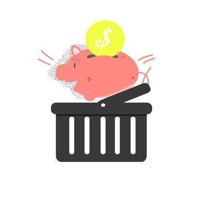 coin box: saving money, basket, coin and money box Illustration