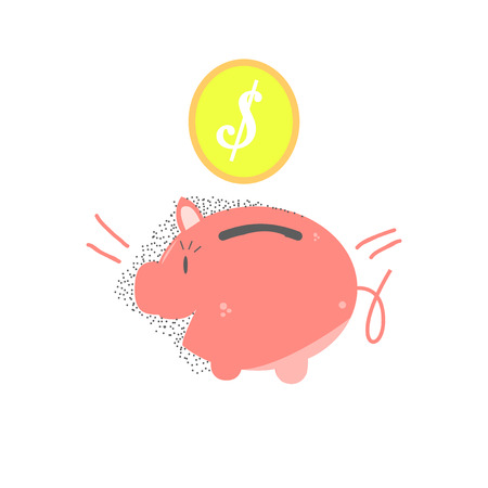 coin box: saving money,money box  and coin over white color background Illustration