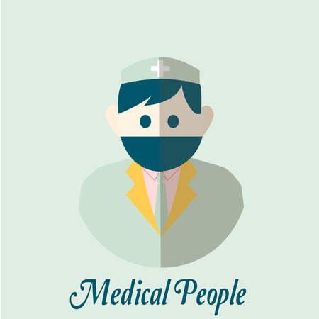 registry: Medical people flatover color background