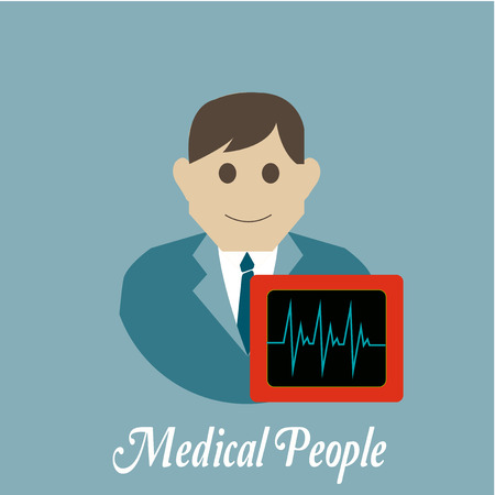 electrocardiograph: Medical people, electrocardiograph over blue color background