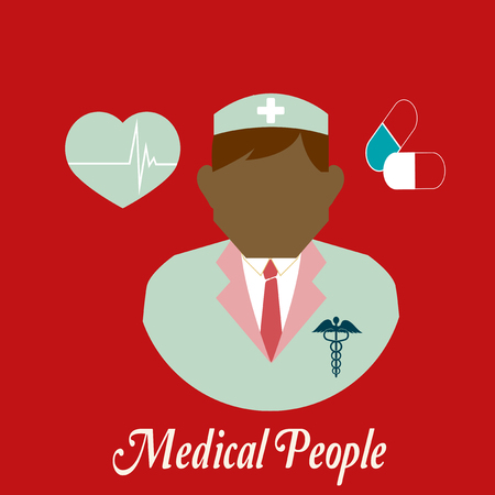 surgeons hat: Medical people, heart  and capsules over    color background Illustration