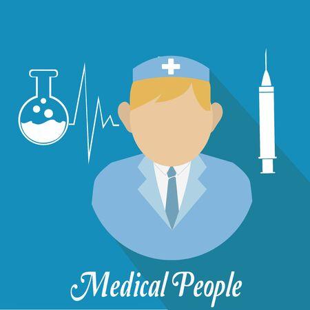 medical people: Gente m�dica, tubo de ensayo y la inyecci�n sobre fondo de color