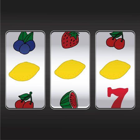 slot machine,threesome lemons Vector