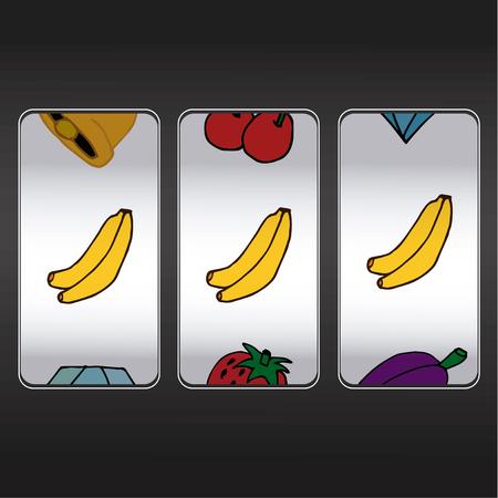 slot: slot machine,threesome bananas Illustration
