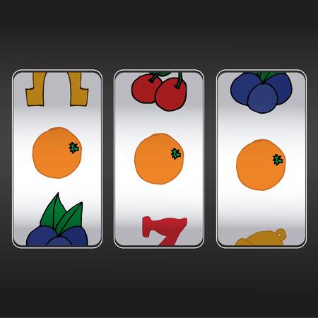 trio: m�quina tragaperras, conjunto de tres naranjas