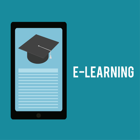 mortarboard: E-learning, mortarboard  and cell phone over  color background