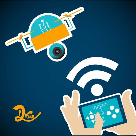 controlled: yellow drone controlled by a tablet over blue color background