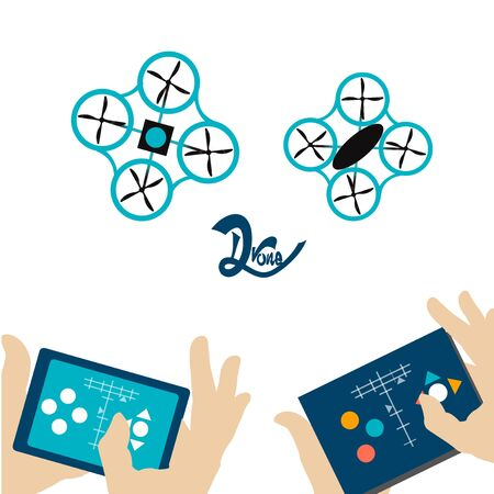controlling: two blue hands controlling drones