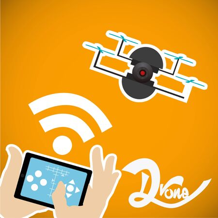 s video: tablet control black drone four helix over yellow background