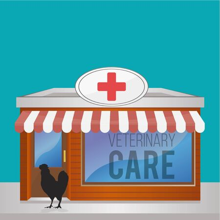 red cross red bird: Veterinary Care Pets illustration over color background