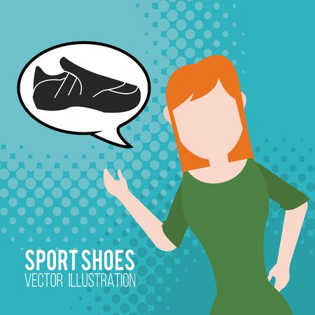 blue shoes: woman talking sports shoes over blue color background