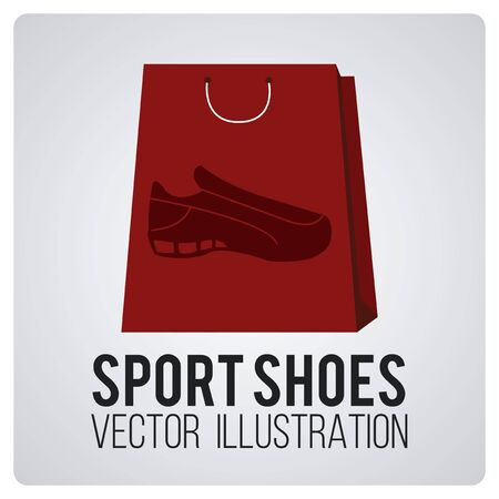 sports shoes on red shopping bag