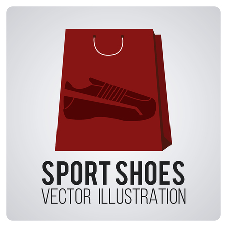 degrade: sports shoes on red shopping bag