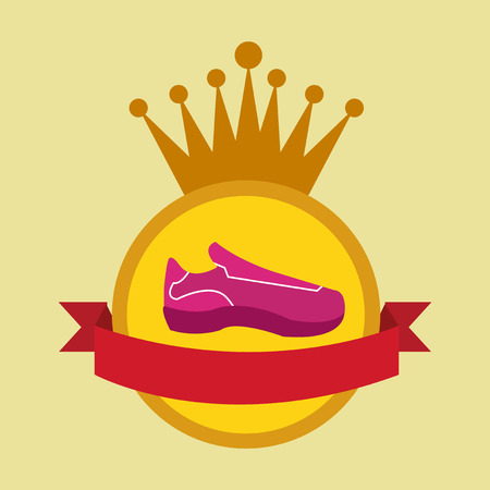tennis shoes: tennis shoes over circle stamp over yellow color background Illustration