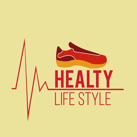 tennis shoes: healthy lifestyle and tennis shoes over yellow color background