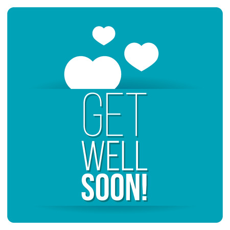 get: get well soon over color background