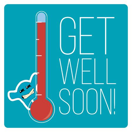 wellness: get well soon over color background
