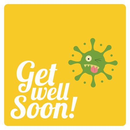 virus sida: get well soon over color background