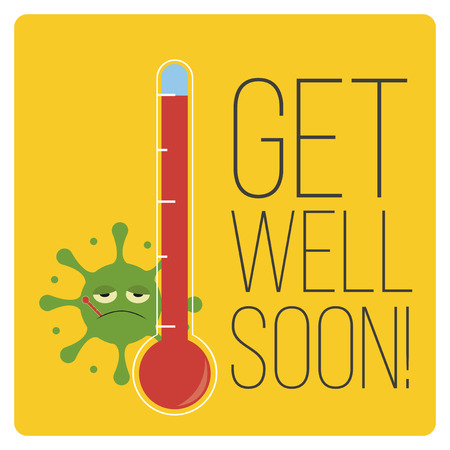 get well: get well soon over color background