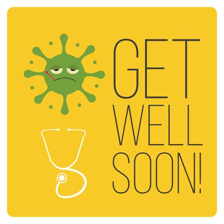 aids virus: get well soon over color background