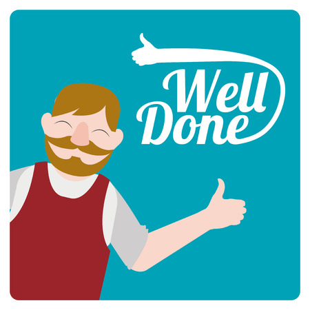 well done: well donde illustration over color background