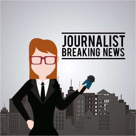 city live: Journalist illustration over color background