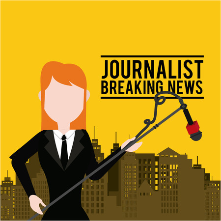 Journalist illustration over color background