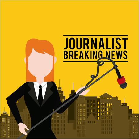 live work city: Journalist illustration over color background
