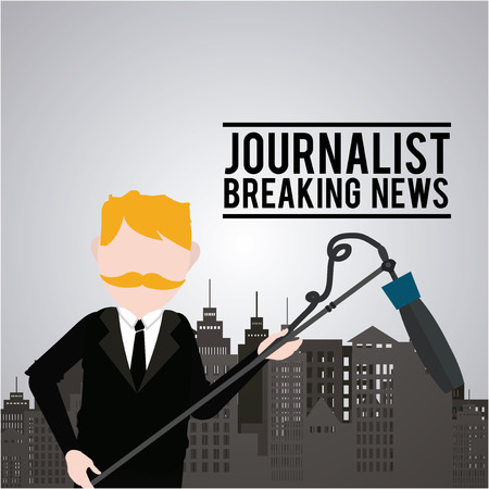 newscaster: Journalist illustration over color background