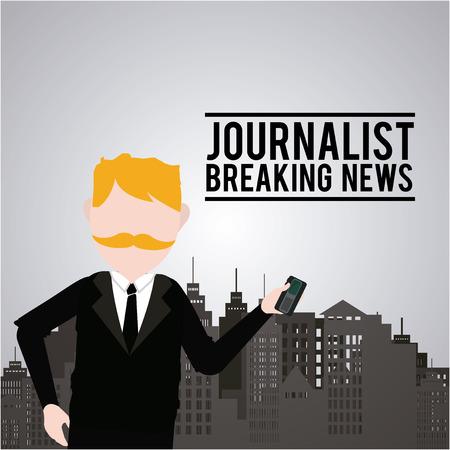 blondie: Journalist illustration over color background