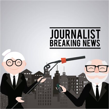 newscaster: Journalist illustration over color background