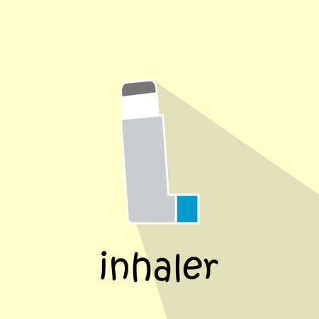 rhinitis: inhaler illustration over color background